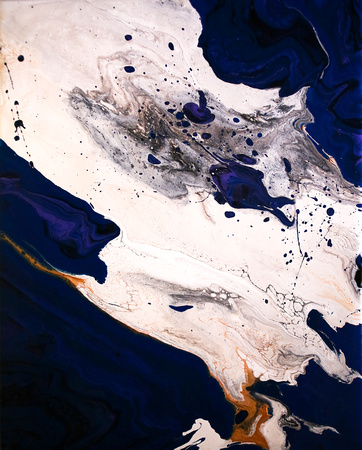 Indigo, Gold, Black, Blue, and White Fluid Acrylic Abstract Painting